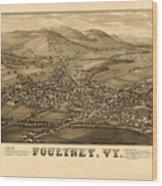 Poultney Vermont Map Vintage Wood Print