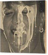 Poured Milk Wood Print