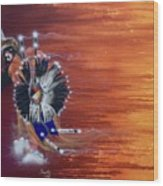 Pow-wow Dancer Wood Print