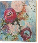 Powder Blue Roses Wood Print