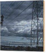 Los Angeles Power Grid At Dusk Wood Print