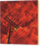 Power Line - Asphalt - Water Puddle Abstract Reflection 02 Wood Print