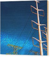 Power Line Light Clouds 2 Wood Print