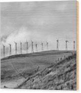 Power Wind Turbines  Bw Wood Print