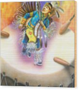 Powwow Dancer Wood Print