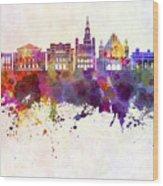 Poznan Skyline In Watercolor Background Wood Print