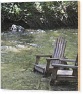 pr 165 - Chairs In The River Wood Print