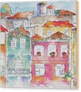 Praca Da Ribeira Porto Wood Print