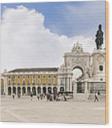 Praca Do Comercio, The Square Of Commerce Wood Print