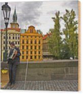 Prague Accordian Player On Charles Bridge Wood Print