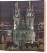Prague At Night Wood Print