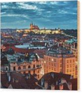 Prague At Night Wood Print