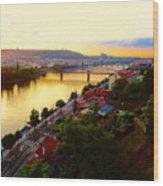 Prague At Sundown Wood Print