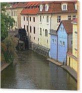 Prague Canal Mill Wood Print