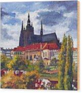 Prague Castle With The Vltava River Wood Print by Yuriy  Shevchuk