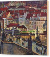Prague Charles Bridge With The Prague Castle Wood Print