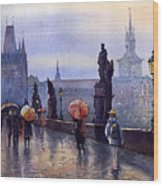Prague Charles Bridge Wood Print by Yuriy  Shevchuk