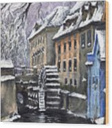 Prague Chertovka Winter Wood Print