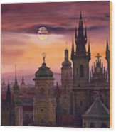 Prague City Of Hundres Spiers Wood Print