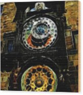 Prague Clock Wood Print
