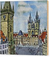 Prague Czech Republic Wood Print by Irina Sztukowski