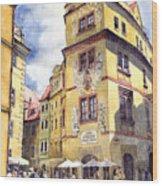 Prague Karlova Street Hotel U Zlate Studny Wood Print