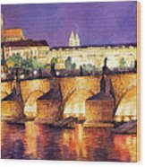 Prague Night Panorama Charles Bridge  Wood Print