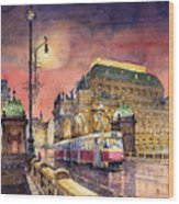 Prague  Night Tram National Theatre Wood Print