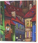 Prague Old Street 01 Wood Print by Yuriy  Shevchuk