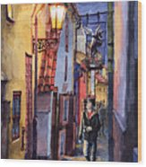 Prague Old Street Golden Line Wood Print