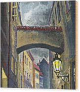 Prague Old Street Love Story Wood Print