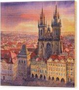 Prague Old Town Square 02 Wood Print by Yuriy  Shevchuk