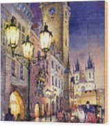 Prague Old Town Square 3 Wood Print by Yuriy  Shevchuk
