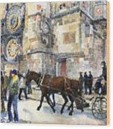 Prague Old Town Square Astronomical Clock Or Prague Orloj  Wood Print by Yuriy  Shevchuk