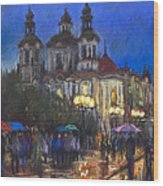 Prague Old Town Square St Nikolas Ch Wood Print