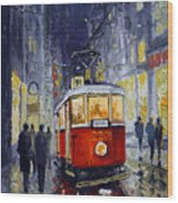 Prague Old Tram 06 Wood Print