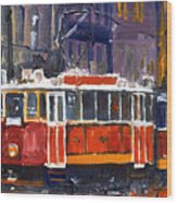 Prague Old Tram 09 Wood Print by Yuriy  Shevchuk