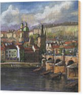 Prague Panorama Charles Bridge Prague Castle Wood Print by Yuriy  Shevchuk