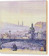 Prague Panorama Chehuv Bridge Wood Print