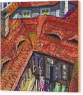 Prague Roofs 01 Wood Print