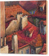 Prague Roofs Wood Print