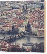 Prague Skyline Wood Print