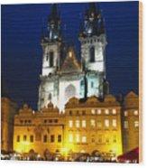Prague Tower At Night Wood Print