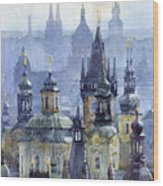 Prague Towers Wood Print by Yuriy  Shevchuk