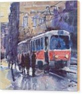 Prague Tram 02 Wood Print