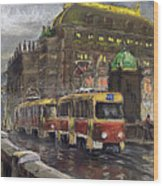 Prague Tram Legii Bridge National Theatre Wood Print