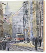 Prague Vodickova Str Wood Print