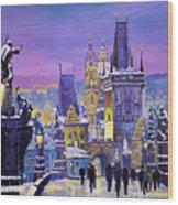 Prague Winter Charles Bridge 3 Wood Print