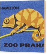 Prague Zoo Chameleon Matchbox Label Wood Print