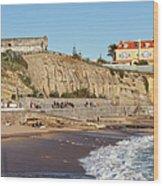 Praia Da Poca Beach In Estoril Portugal Wood Print
